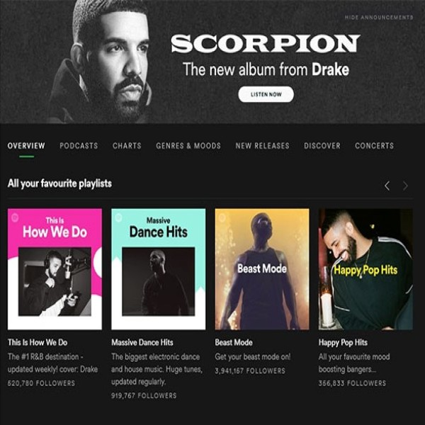 Drake fever: Spotify frontpage at the height of the campaign (Credit: Industry Observer)